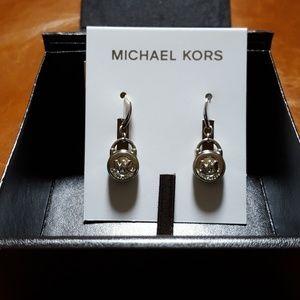 Michael Kors silver Tone padlock drop earrings